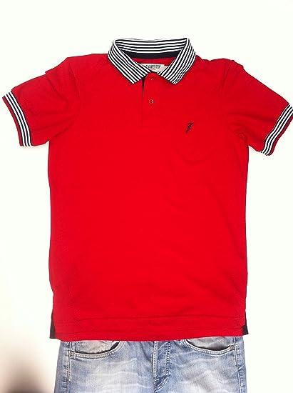 Playera tipo polo piqué color rojo cuello multiraya  Amazon.com.mx ... df7cb5d74bc61