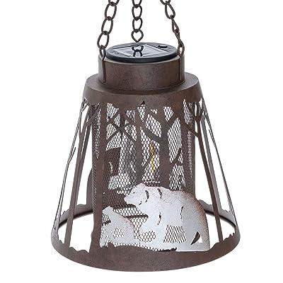 Bear LED Lantern Lights Decorative - Metal Round Holder Hanging Lantern for Indoor Outdoor by Pine Ridge | Flameless Lodge Night Light Cabin Decor | Halloween and Christmas