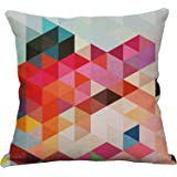 Geometric Decorative Throw Pillow Covers Square Cotton Linen Cushion Covers Outdoor Sofa Home Pillow Covers 18x18 Inch