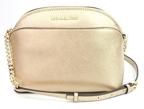 f9d6ed5dd21077 Michael Kors Emmy Leather Chain Cross Body Bag Small Handbag (Pale Gold):  Amazon.co.uk: Shoes & Bags