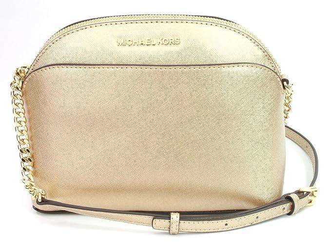 7cb884d656f5 Michael Kors Emmy Saffiano Leather Medium Crossbody Bag in Pale Gold ...