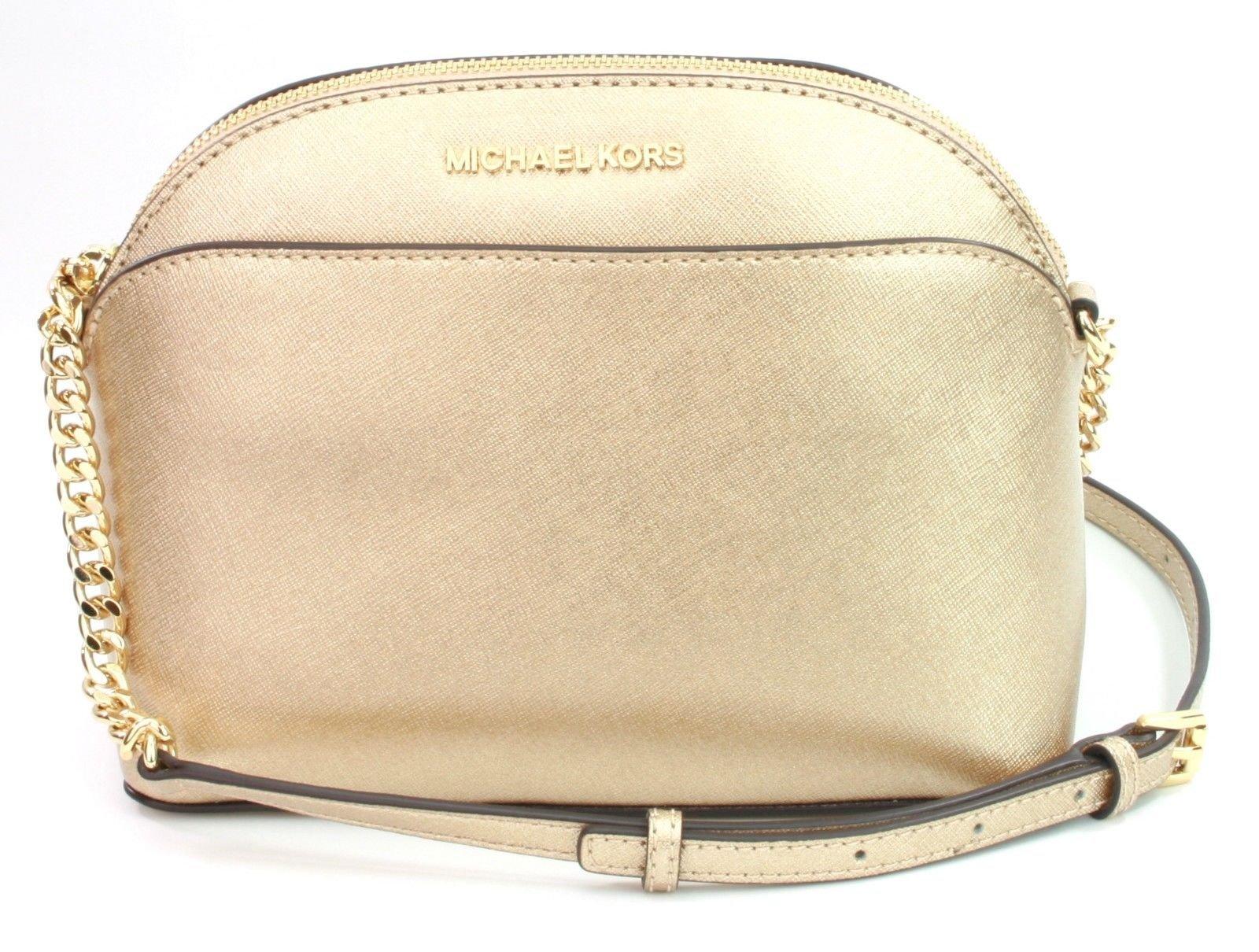 Michael Kors Emmy Saffiano Leather Medium Crossbody Bag in Pale Gold