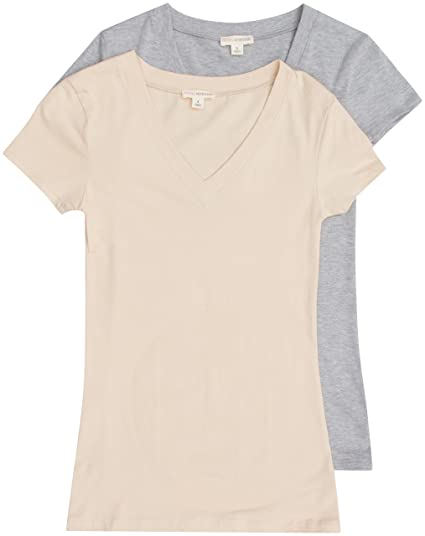 a38b9d86e 2 Pack Zenana Women's Basic V-Neck T-Shirts Small H Gray, Taupe at Amazon  Women's Clothing store: