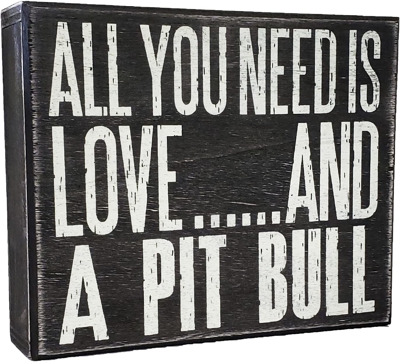 JennyGems All You Need is Love and a Pit Bull (Pitbull) - Stand Up Wooden Box Sign - American Pit Bull Terrier Home Decor - Pitt Decorations and Accessories - Dog Artwork, Pitbull Mom