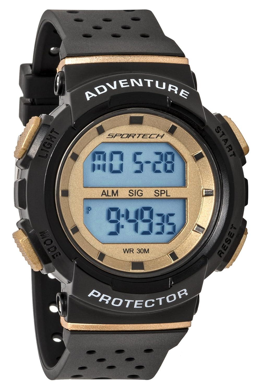 Reloj deportivo deportivo unisex negro y dorado digital ...
