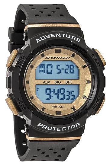 Reloj deportivo deportivo unisex negro y dorado digital resistente al agua SP12705: Amazon.es: Relojes