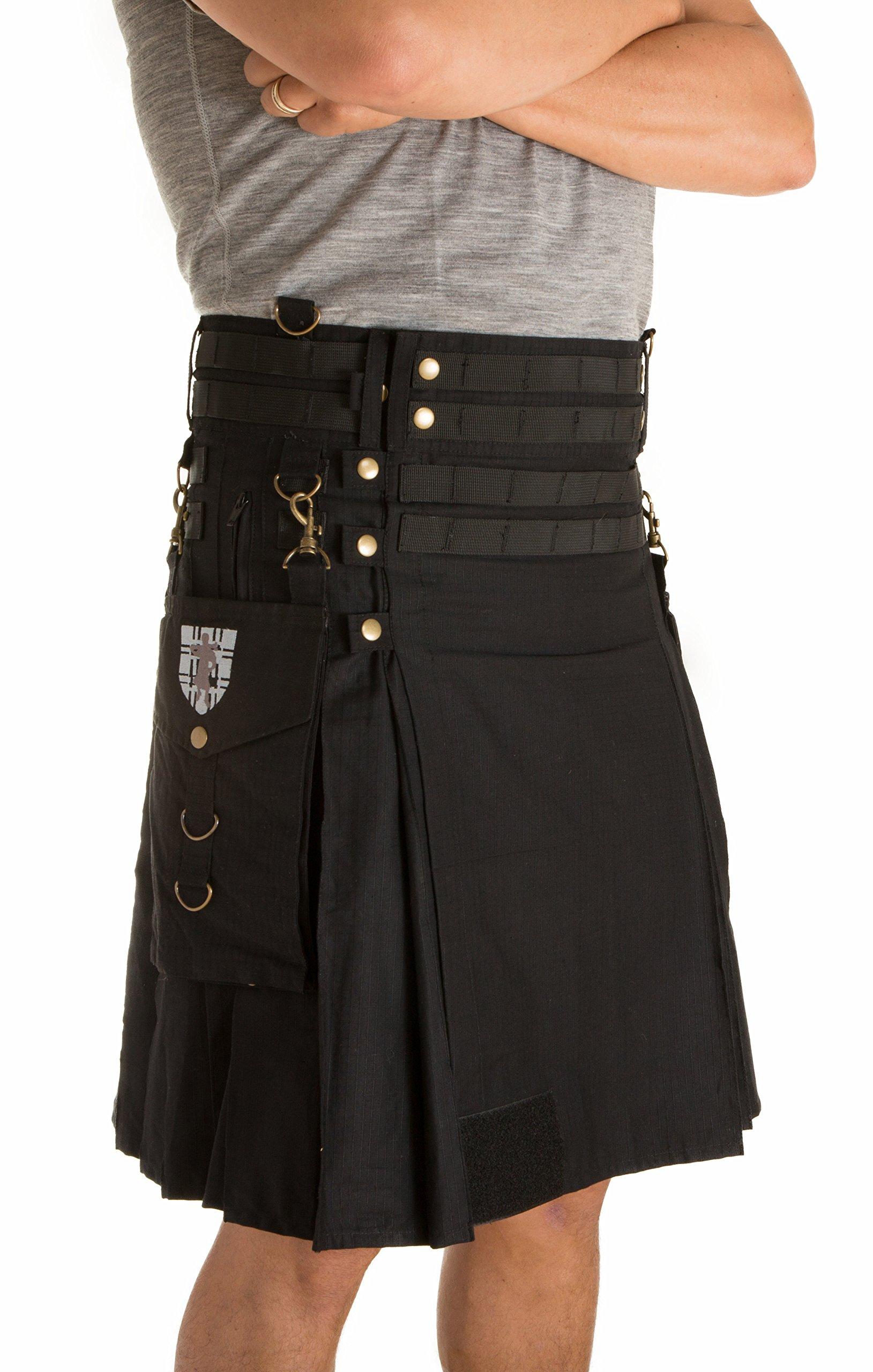 Damn Near Kilt 'Em Men's Tactical Kilt Small-Medium Black