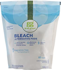 Grab Green Natural Bleach Alternative Pods, Unscented/Free & Clear, 60 Loads, Non-Chlorine Bleach, Fragrance Free