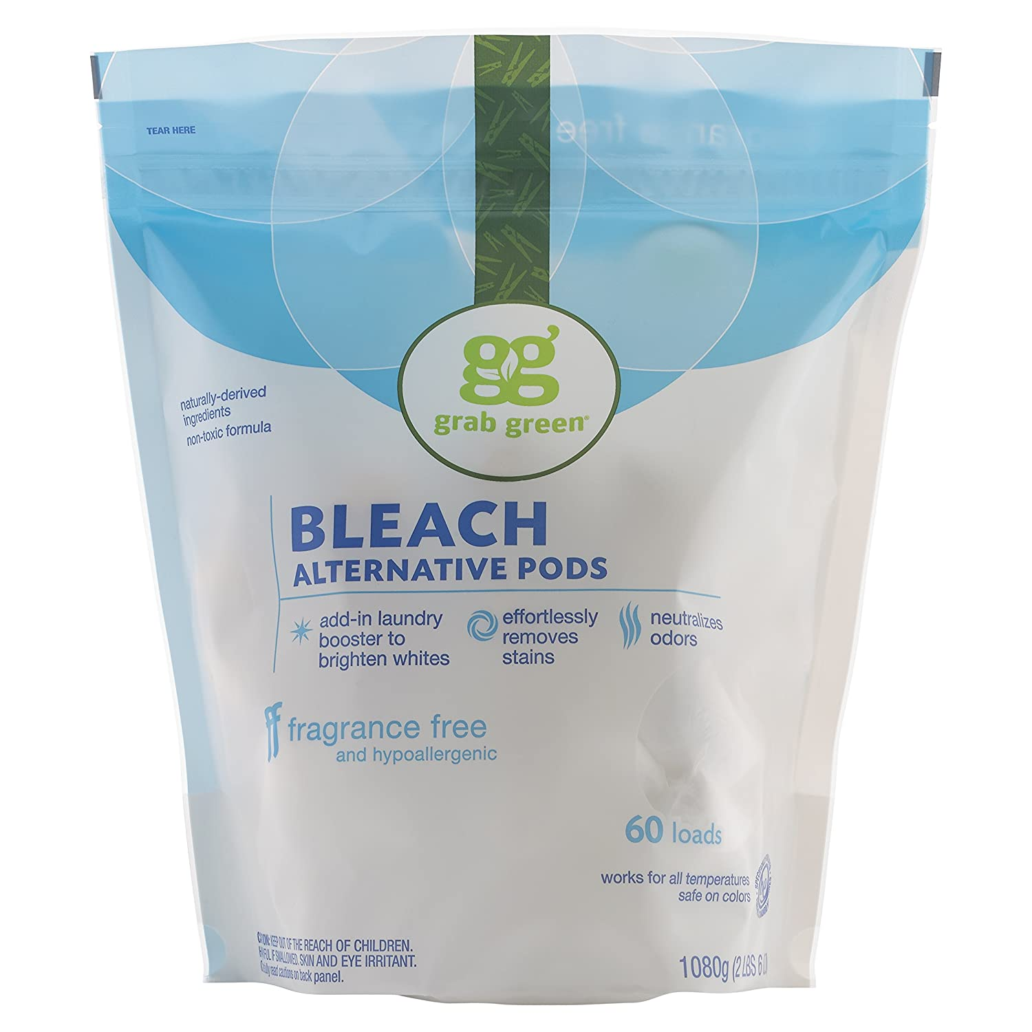 Grab Green Natural Bleach Alternative Pods, Non-Chlorine Bleach, Fragrance Free, Unscented/Free & Clear, 60 Loads