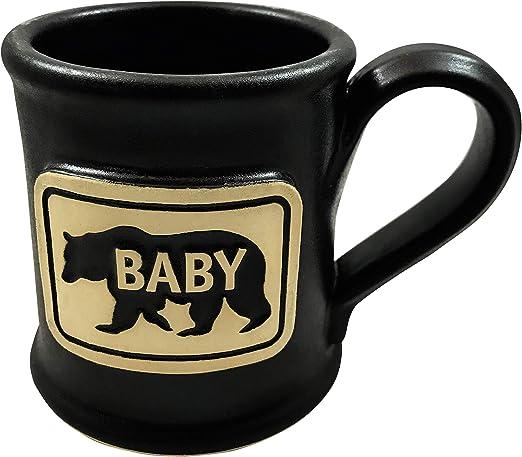 Papa Bear Dad Black On White 16 ounce Ceramic Stoneware Beer Stein Mug