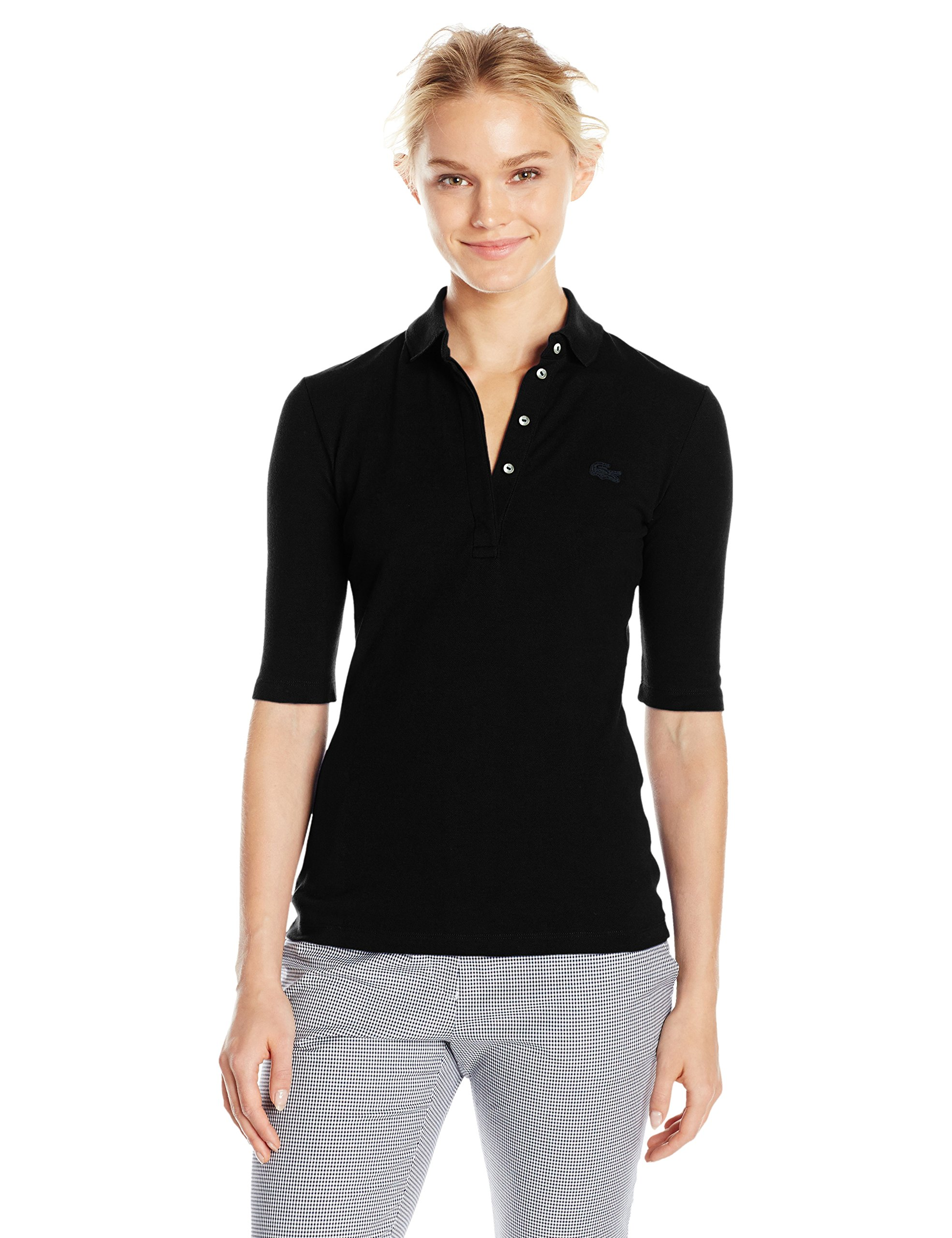Lacoste Women's Classic Half Sleeve Slim Fit Stretch Pique Polo, PF7844, Black, 10 by Lacoste