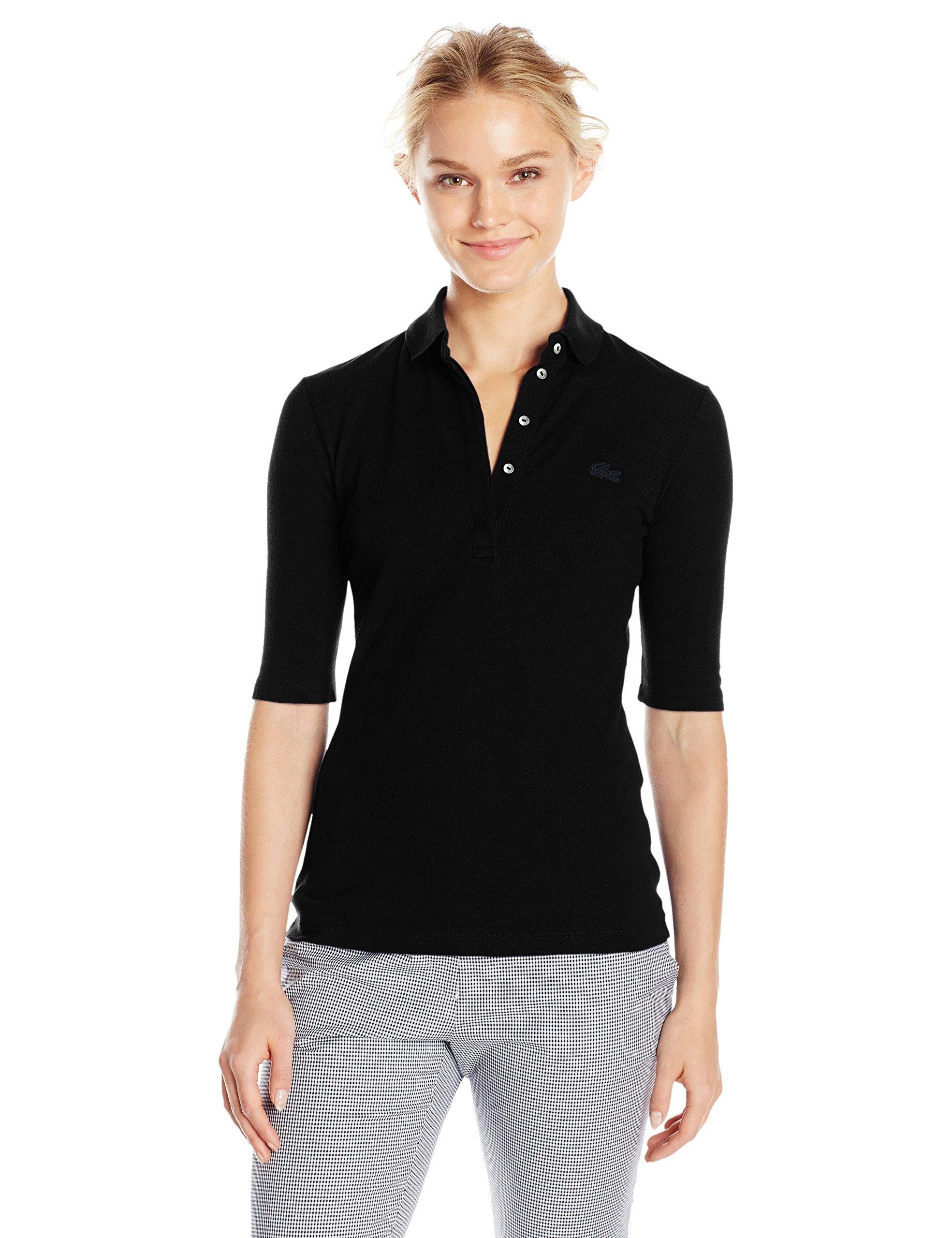 Lacoste Women's Long Sleeve Slim Fit Stretch Mini Piqué Polo, Navy Blue 0