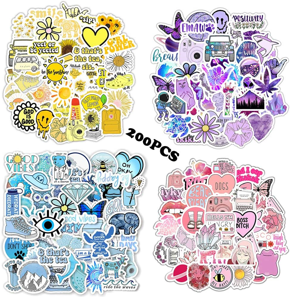 200PCS VSCO Stickers for Water Bottles,Cute Funny Waterproof Vinyl Stickers Decals for Teens,Girls and Women,Unique Durable Aesthetic Trendy Stickers Perfect for Hydro Flask, Laptop, Computer,Phone