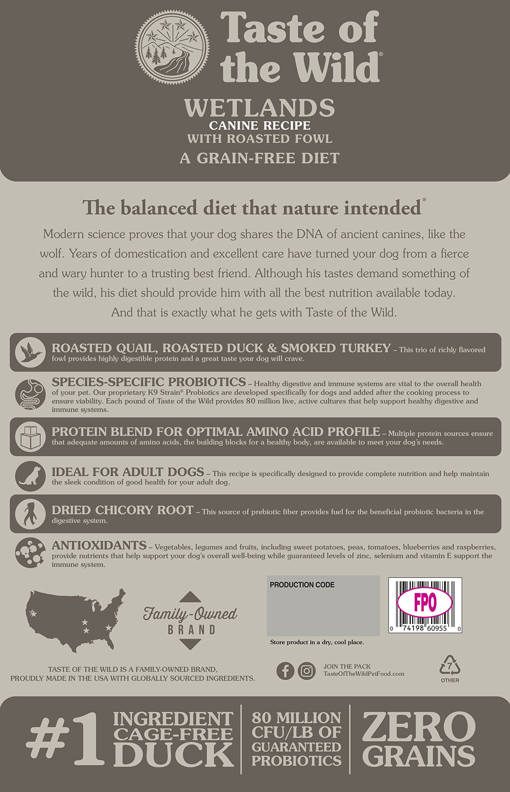 Taste of the Wild Grain Free High Protein Real Meat Recipe Wetlands Premium Dry Dog Food by Taste of the Wild (Image #2)