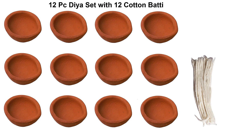 12 Pc Set of Diwali Gift/Diwali Decorations Clay Diya.Handmade Natural Earthen Oil Lamp/Welcome Traditional Diyas with Cotton wicks Batti. Deepawali Diya Lamp. Diwali Earthen Lamp. Oil lamp Crafts'man DIYA0023