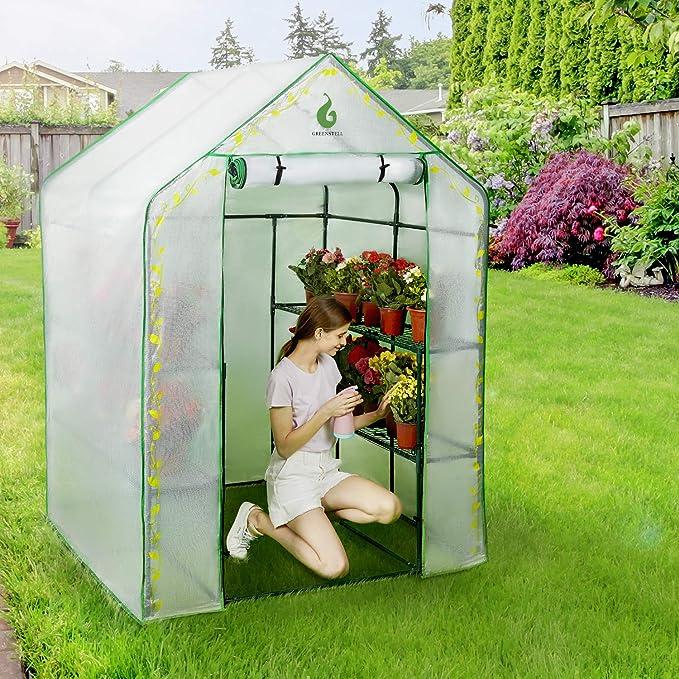 Greenstell Invernadero Cubierta de PVC y 8 estantes Resistentes ...
