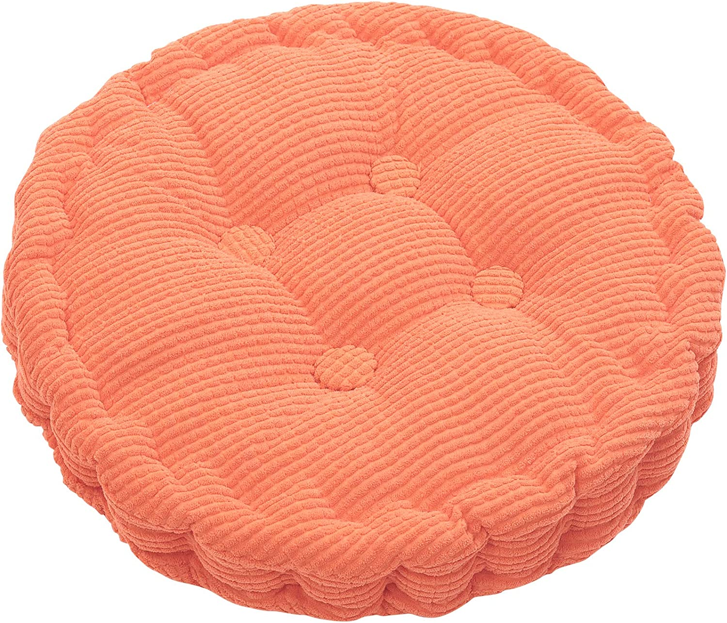 HomeMiYN Round Seat Cushions, EPE Foam Filled Indoor Chair Pad Cushions for Home, Office, Dining, Kitchen, Orange, 15.7'' x 15.7''