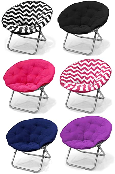 Merveilleux Large Purple Microsuede Folding Saucer Moon Chair   Lightweight  Construction U0026 Oversized Comfy Padded Cushion.