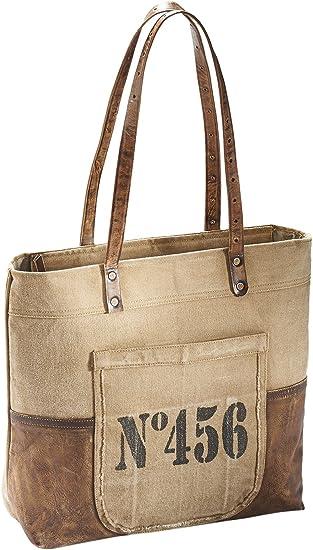 Kobolo Vintage Tasche Handtasche Vintage Leder Military Look Canvas Used Shopper