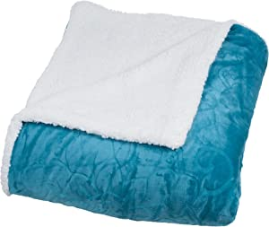Bedford Home Floral Etched Fleece Blanket with Sherpa, Twin, Teal