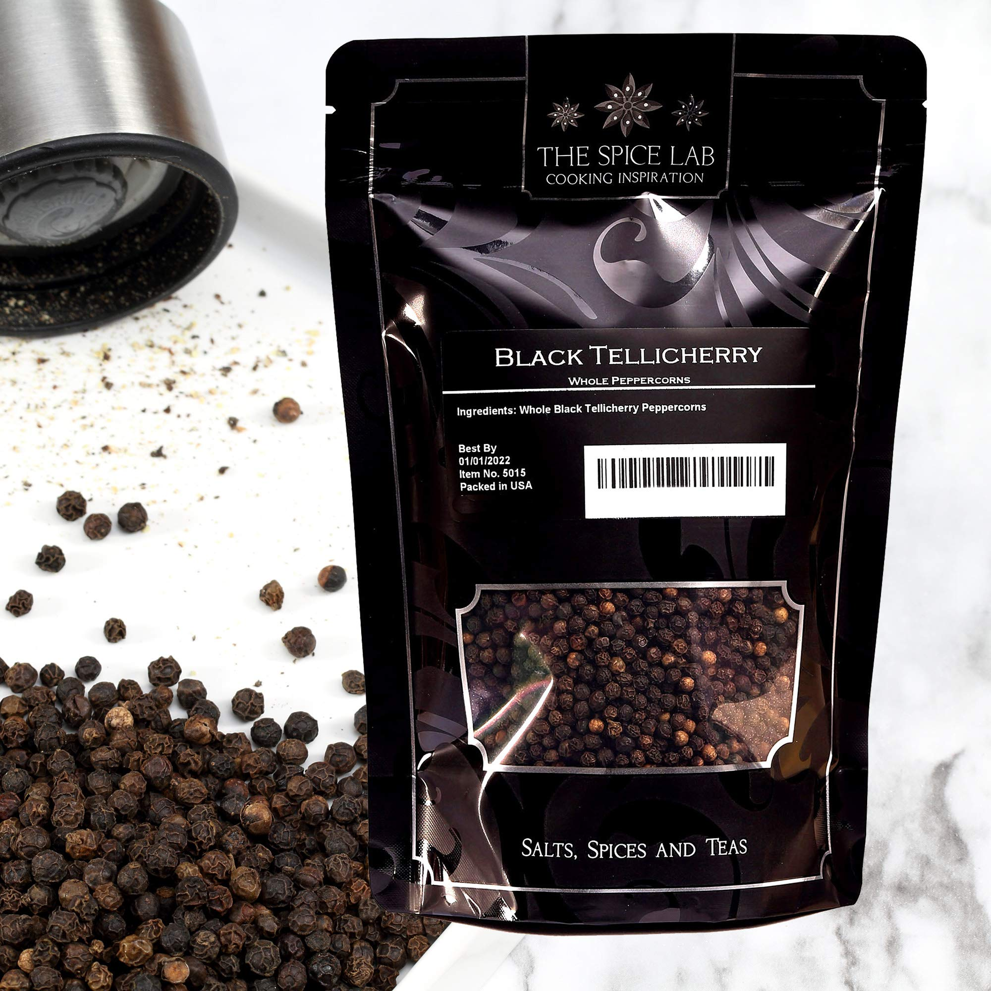 The Spice Lab - 4 oz. Black Tellicherry Peppercorns for Grinder Packed in the USA - Steam Sterilized Kosher Non-GMO All Natural Black Pepper Resealable Bag 5015