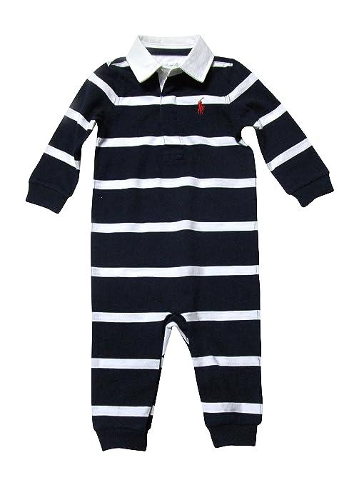 Ralph Lauren bebé joven Pelele traje azul oscuro blanco rayas azul oscuro Talla:74