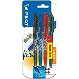 Pilot FriXion ball - Penna roller a inchiostro gel, con punta retrattile, 4 pezzi Tappo Nero, blu, rosso, blu o verde