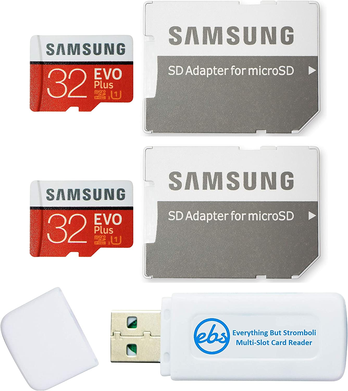Samsung 32GB EVO Plus Tarjeta MicroSD (2 Pack EVO+ Bundle) Clase 10 SDHC Tarjeta de Memoria con Adaptador (MB-MC32G) con (1) Todo Menos Stromboli (TM) Micro & SD Lector de Tarjetas: Amazon.es: