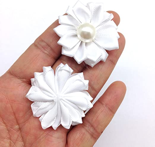 white or both Satin Flowers with Rhinestone Centers ~ 1.5 inch ~ Choose black