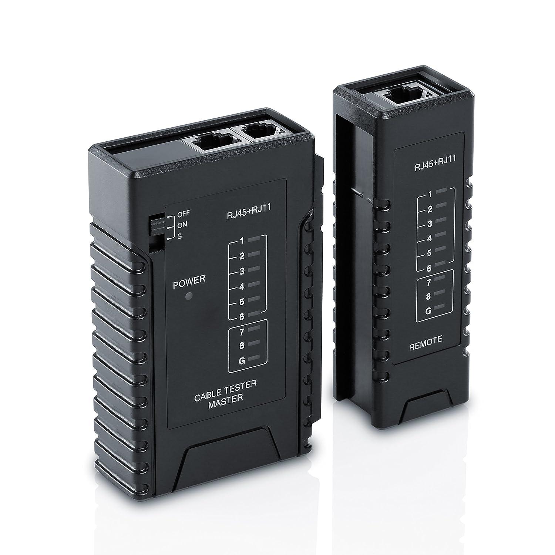 CSL - Tester de cables de red para cable RJ45-/RJ11   Comprobador de cables de conexió n / Comprobador de conductividad   Dos velocidades distintas   Selector On/Off   Negro CSL-Computer