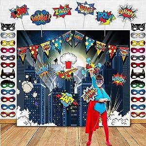 Superhero Birthday Party Supplies Superhero Cityscape Photography Backdrop,24 Superhero Masks 6 Superhero Photo Booth Props For Superhero Birthday Party Decorations Favor For Kids