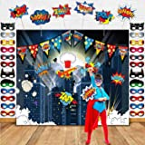 TMCCE Superhero Birthday Party Supplies Superhero Cityscape Photography Backdrop,24 Superhero Masks 6 Superhero Photo Booth Props For Superhero Birthday Party Decorations Favor For Kids