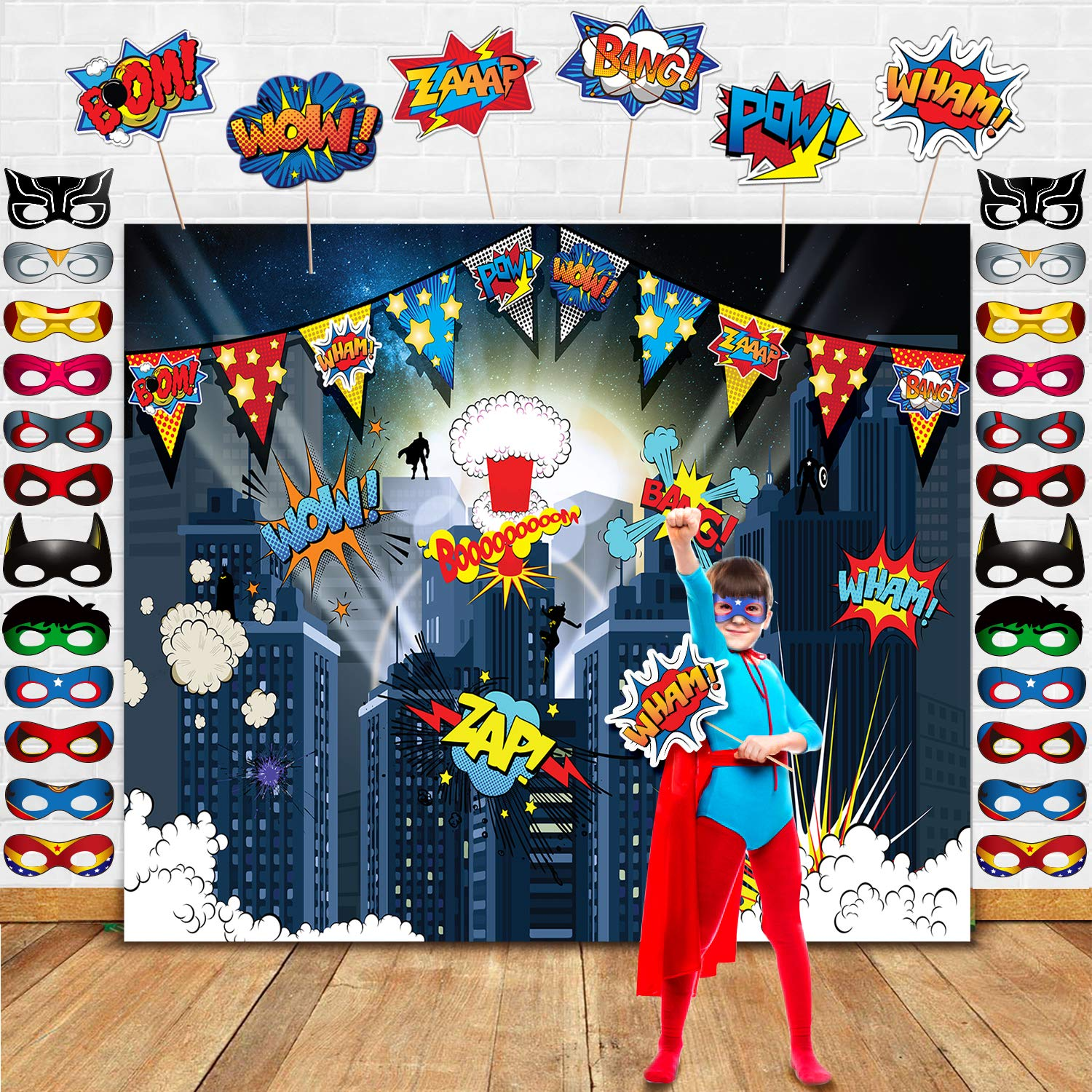 TMCCE Superhero Birthday Party Supplies Superhero Cityscape Photography Backdrop,24 Superhero Masks 6 Superhero Photo Booth Props For Superhero Birthday Party Decorations Favor