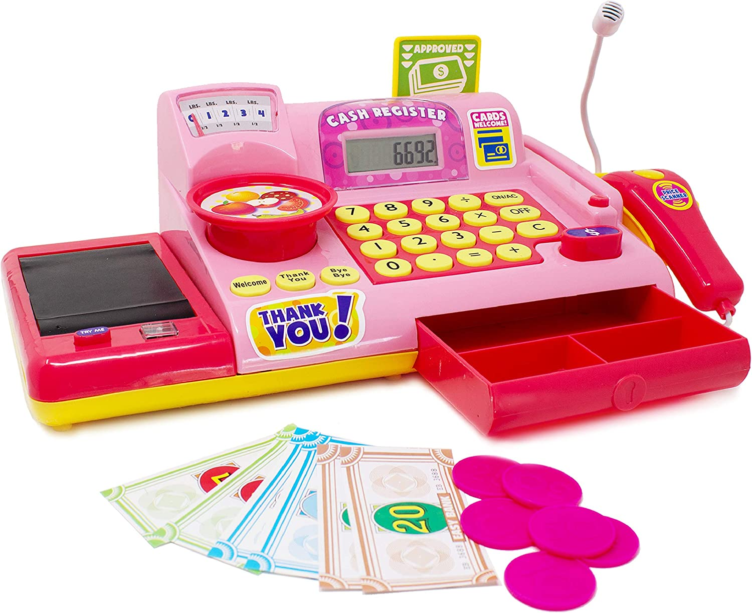 Play Money and Play Food LHY NEWS Cash Register for Kids with Electronic Sound Scanner Pretend Play Toys for Boys /& Girls