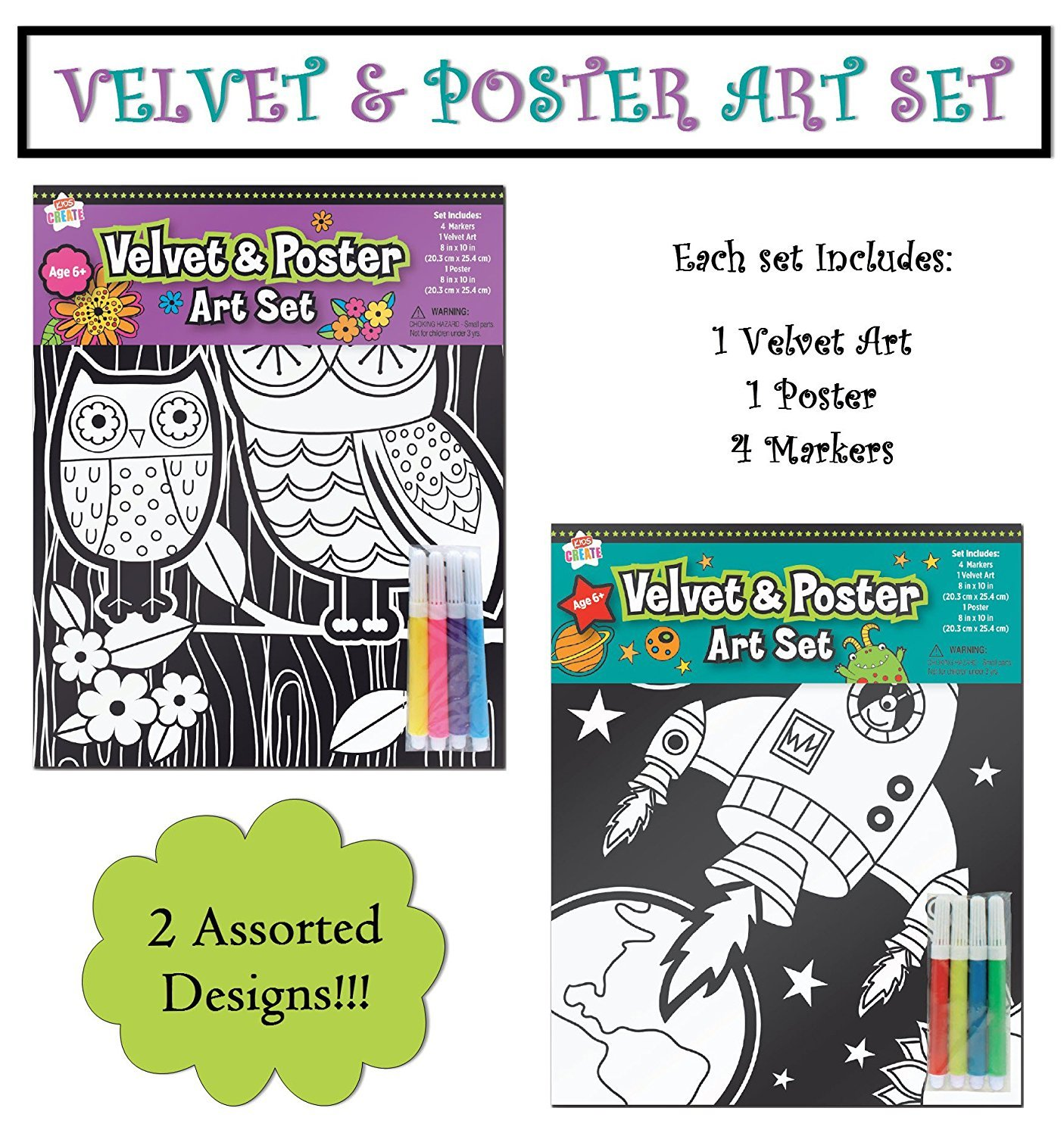 Buy Velvet Art Coloring Posters Kids Craft Supplies Black Velvet ...