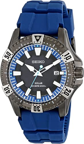 Seiko Mens SNE283 Gunmetal-Tone Stainless Steel Watch with Blue Polyurethane Band