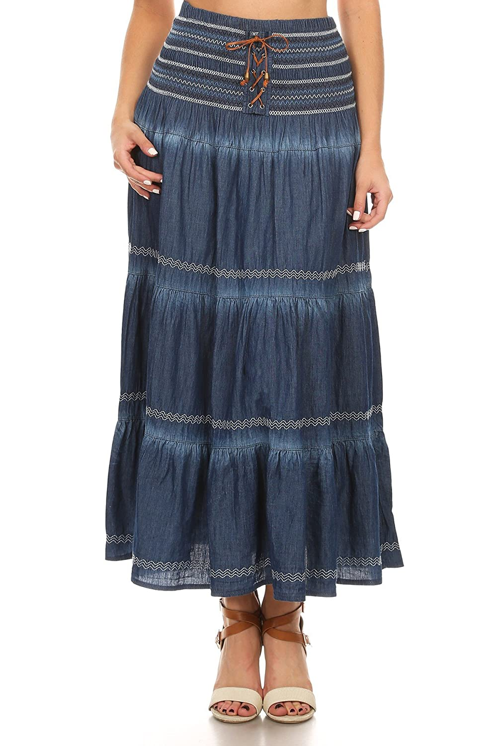 7ddfd7da6d Fit and Flare Tiered Layers Denim Skirt or Midi Dress with Corset Like  Lacing in Washed Blue One Size at Amazon Women s Clothing store