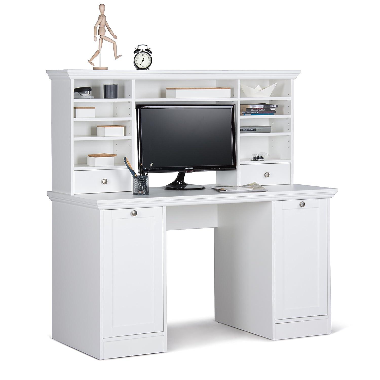 Eckschreibtisch weiß mit aufsatz  Intertrade 001736 Schreibtisch - Bürotisch Woody 32 mit Aufsatz, 5 ...