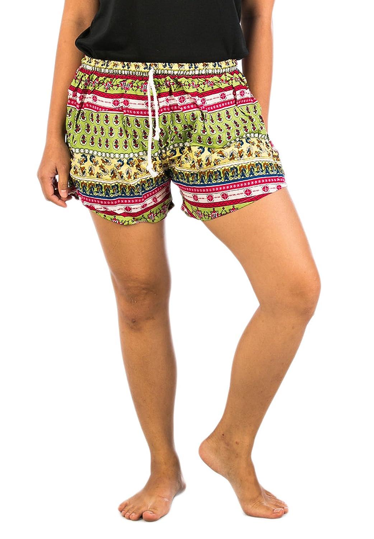 Lofbaz Women's Colorful Printed Mini Summer Drawstring Shorts
