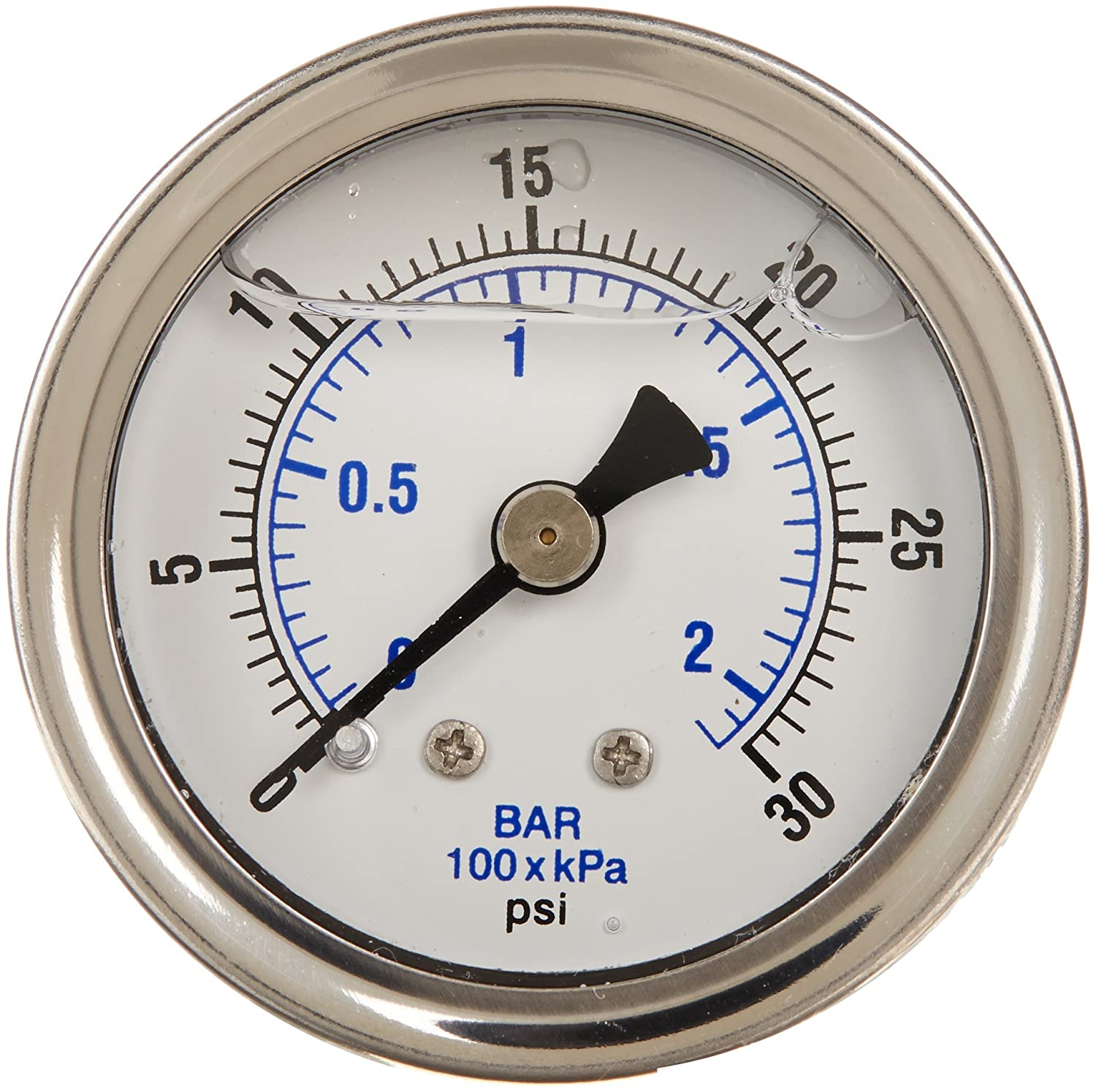 PIC Gauge 202L 158C 1.5 Dial 0 30 psi Range 1 8 Male NPT Connection Size Center Back Mount Glycerine Filled Pressure Gauge with a Stainless Steel Case Brass Internals Stainless Steel Bezel and Polycarbonate Lens