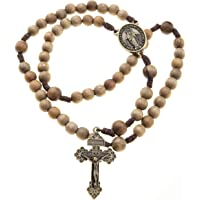 Catholic Brown Wood Rosary Beads 10mm 12mm Durable Cord Pardon Crucifix Miraculous Center