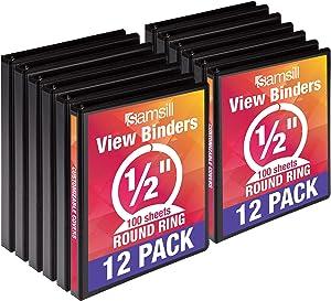 Samsill I08510C Economy 3 Ring Binder Organizer, .5 Inch Round Ring Binder, Customizable Clear View Cover, Black Bulk Binder 12 Pack