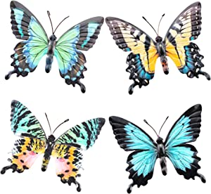 OSW Metal Butterfly Wall Art Decor for Indoor Living Room, Bedroom, Kitchen, Bathroom or Outdoor Garden Fence Yard Colorful Set of 4 Sculpture Realistic Butterflies