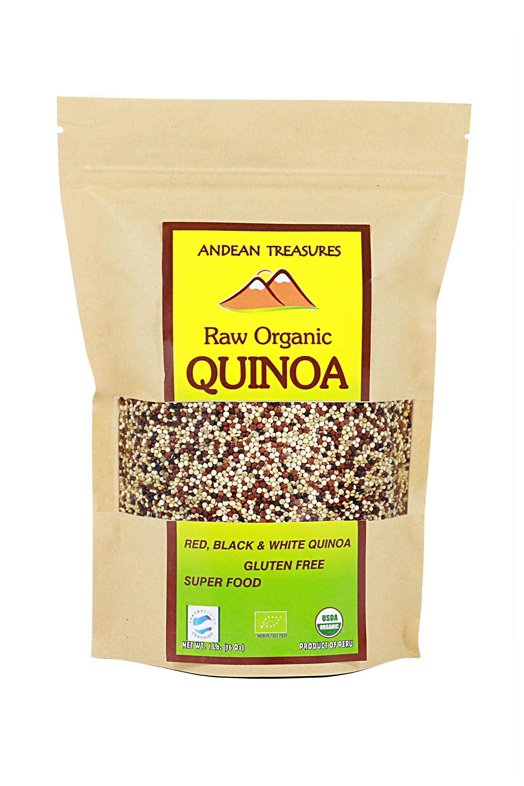 ANDEAN TREASURES RAW ORGANIC QUINOA TRICOLOR (Black, Red & White Quinoa) Gluten Free 1 LB (PACK OF 4) by ANDEAN TREASURES (Image #1)