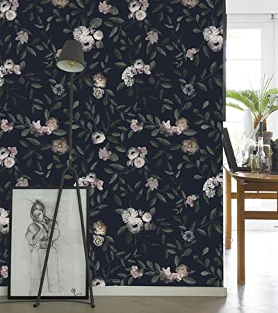 Dark Floral Mural Wall Art Peel And Stick Wallpaper 2 Sheet Pack 2x8 Feet Amazon Com