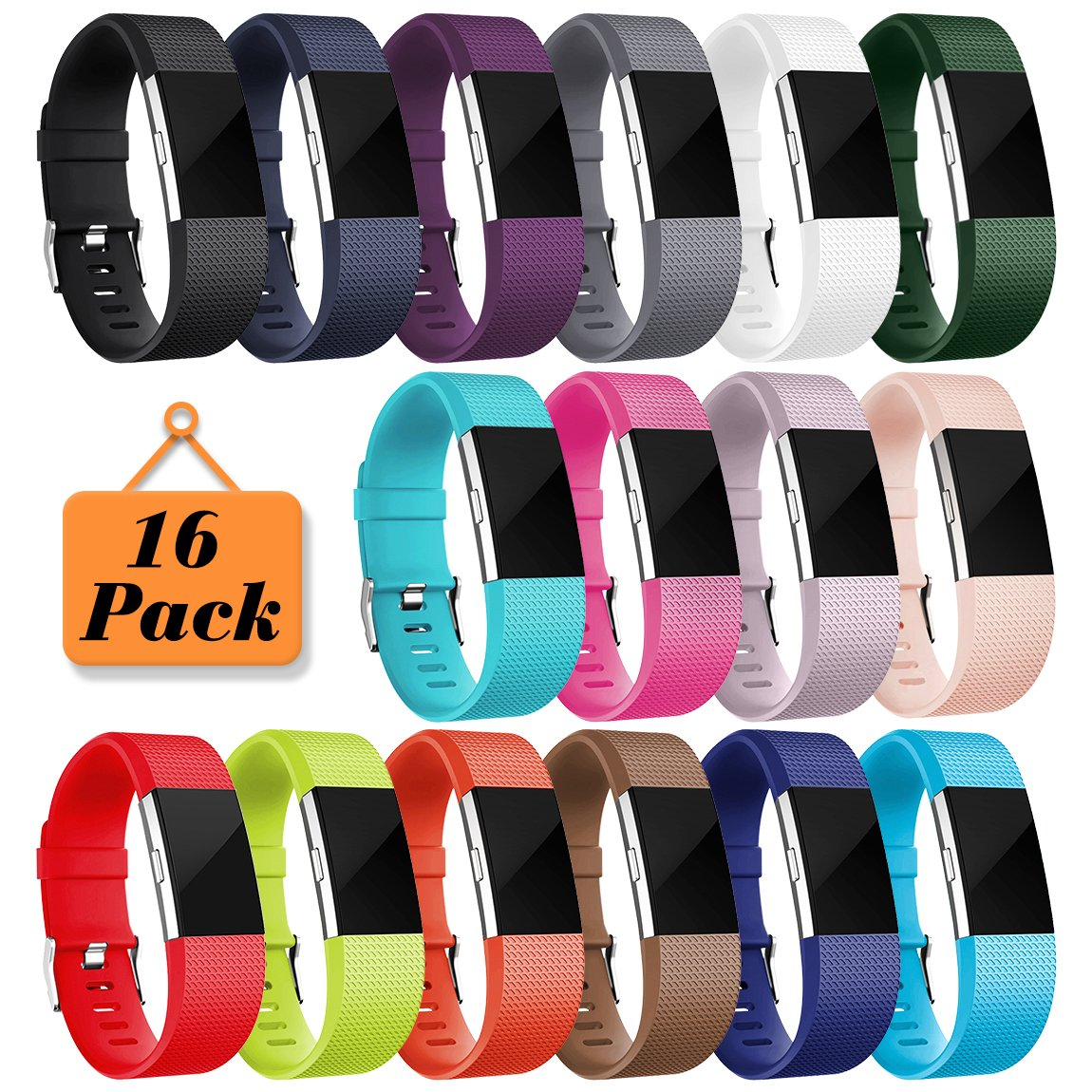 Maledan Bands for Fitbit Charge 2, 16 Pack