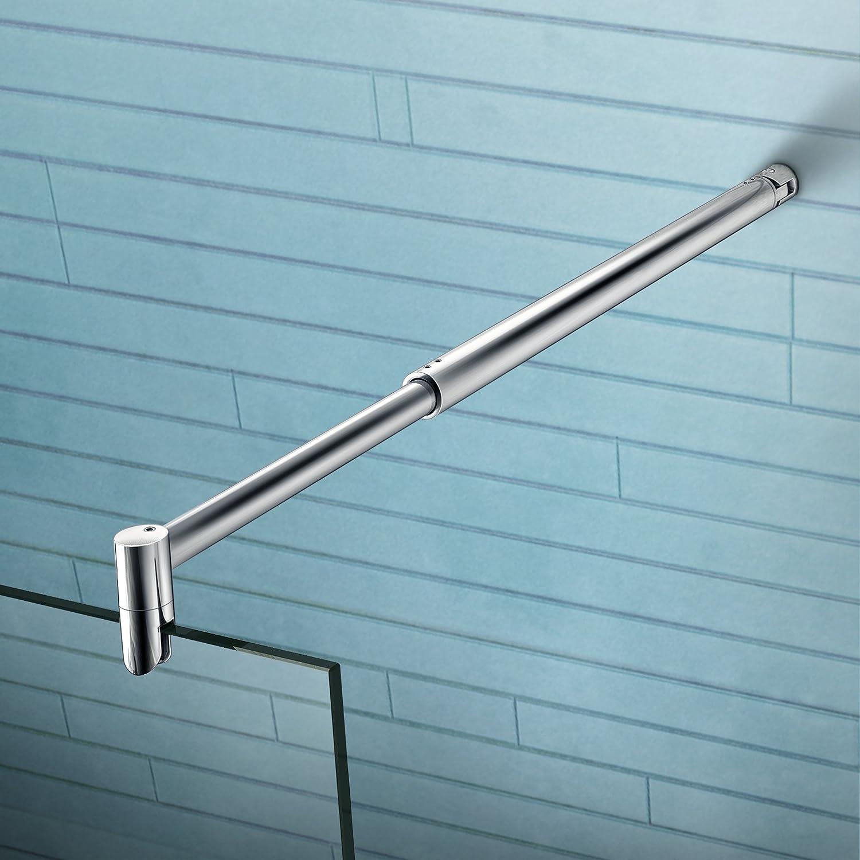 Paroi de douche 160x200cm paroi de fixation /à litalienne avec barre de fixation extensible cylindrique verre anticalcaire