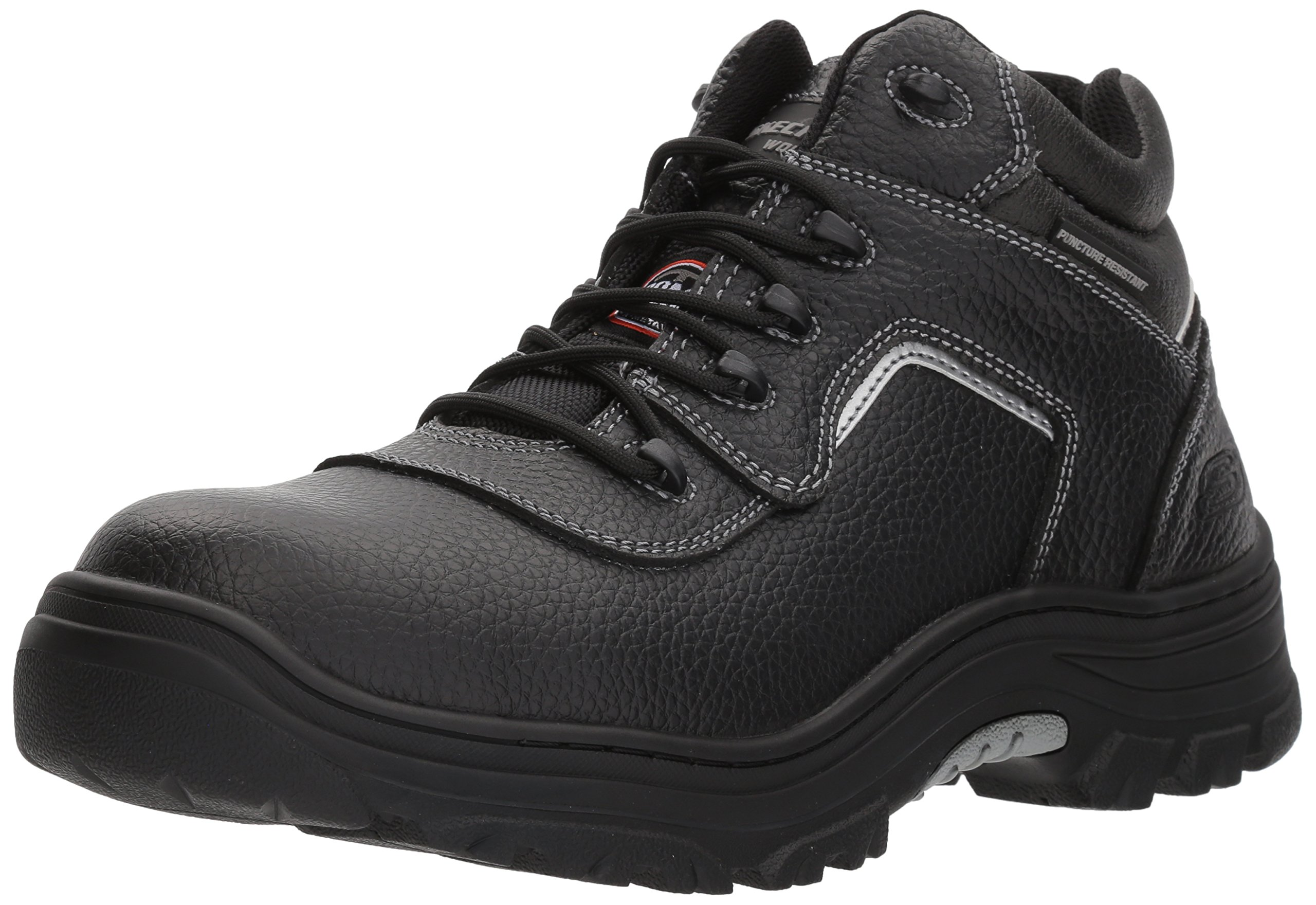 Skechers for Work Men's Burgin-Sosder Industrial Boot,Black Embossed Leather,9 W US