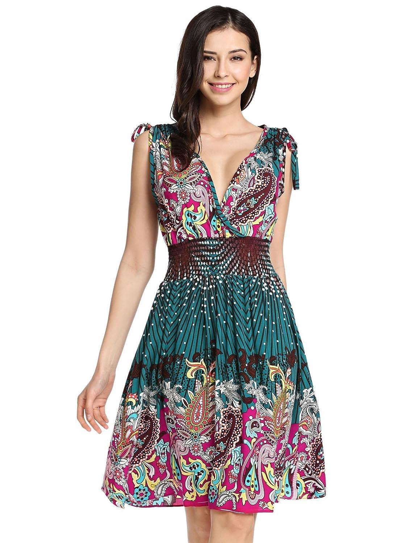 74cef904d890 loukou v Neck Short Dress Bohemian Style Clothing Bohemian Clothing Stores  Dresses at Amazon Women s Clothing store