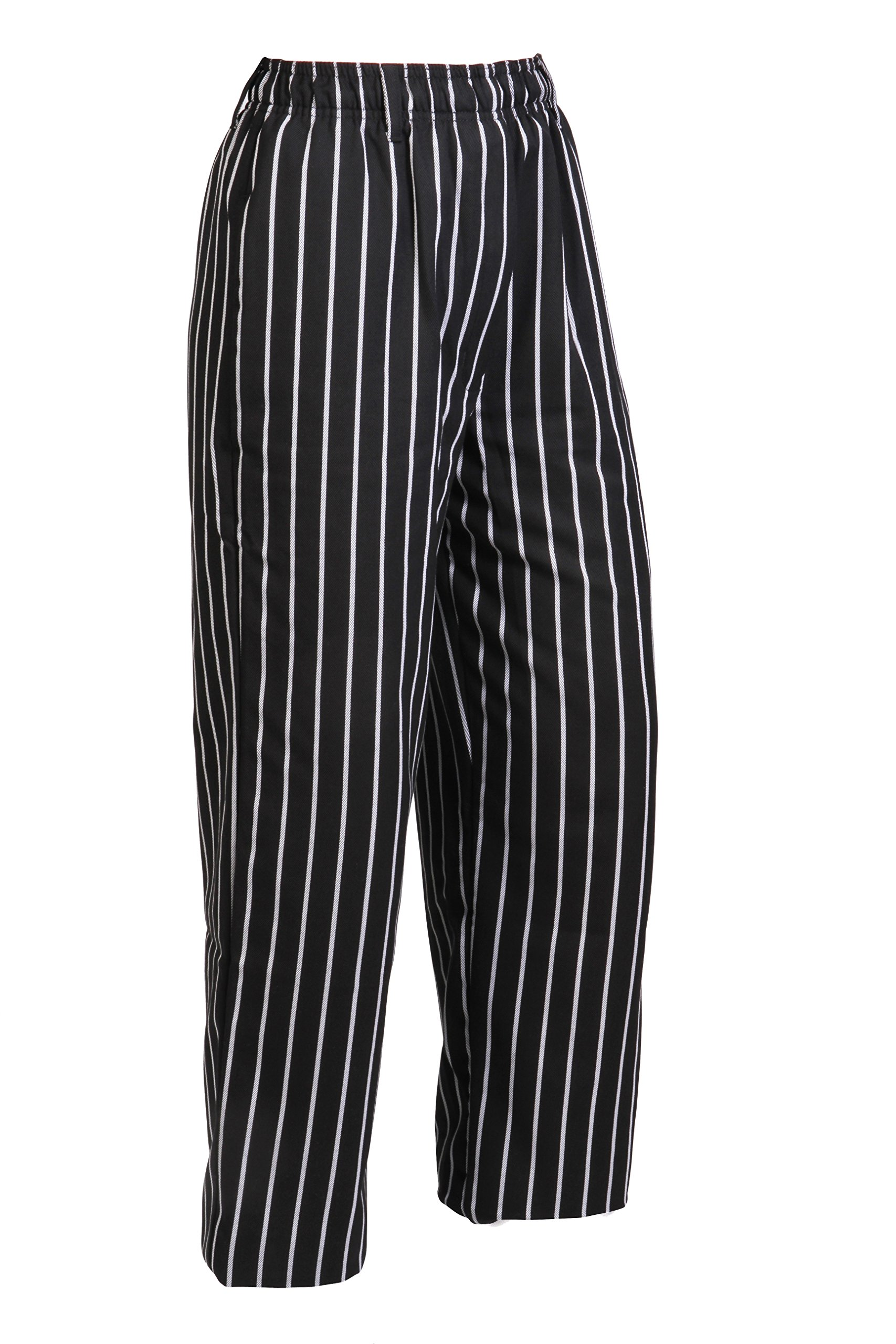 Mercer Culinary M60030BCS1X Millennia Men's Black Cook Pants with White Chalk Stripe, X-Large by Mercer Culinary